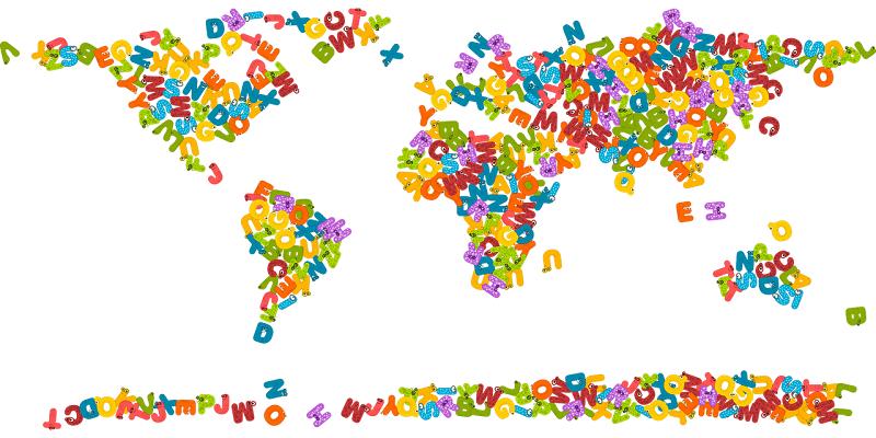 アルファベットの世界地図